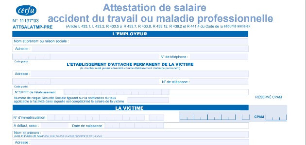 attestation de salaire AT/MP