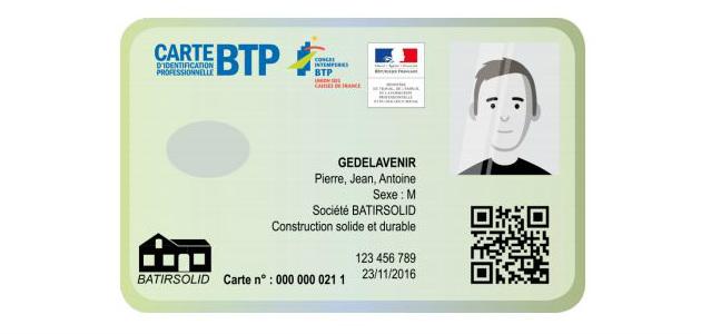 Carte d'identification professionnelle BTP