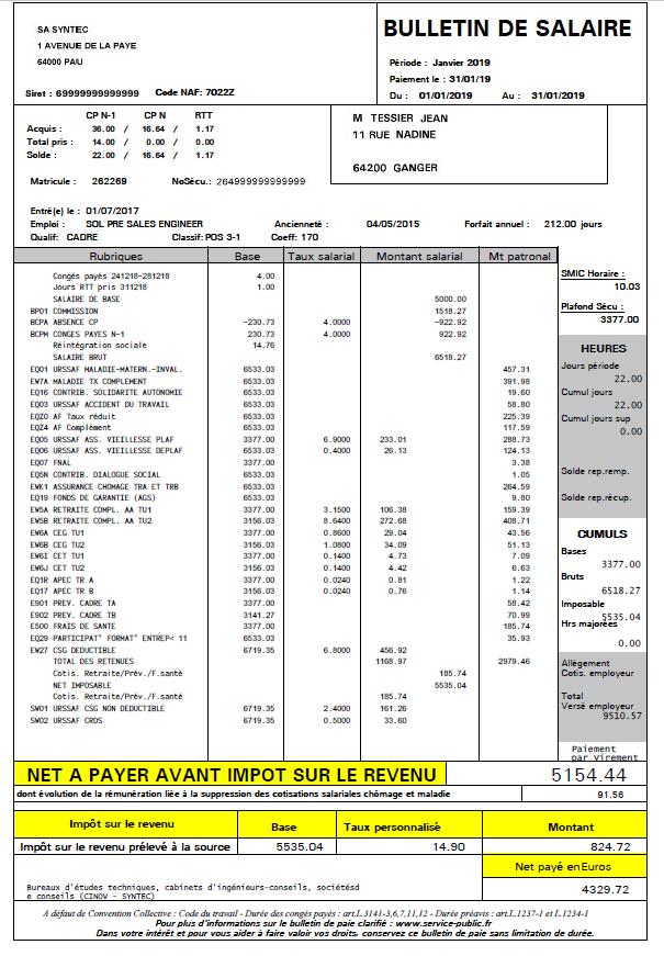 fiche de paie syntec 2019
