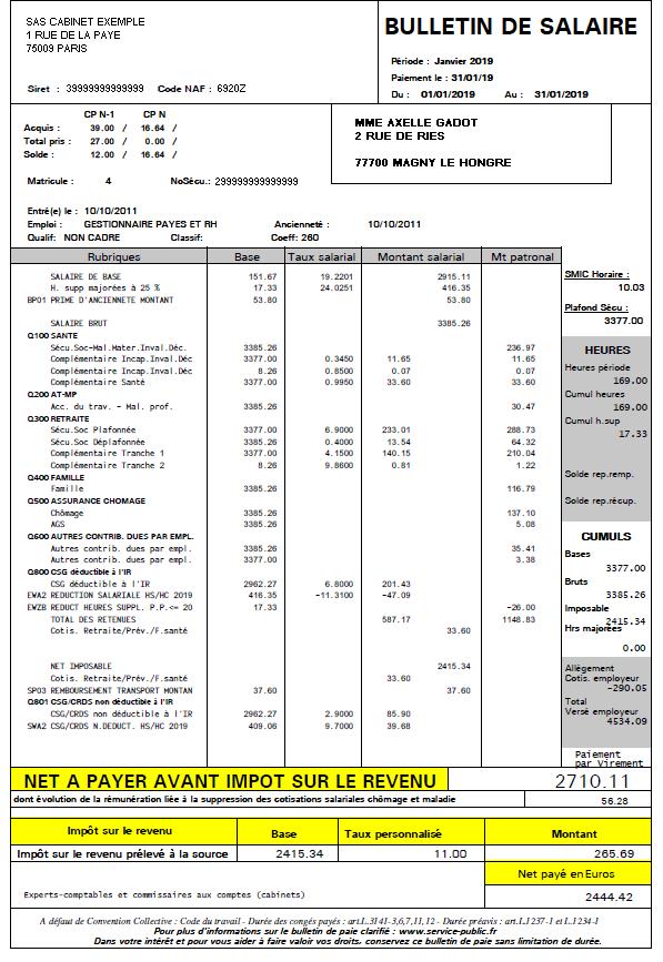 fiche de paie expert comptable 2019