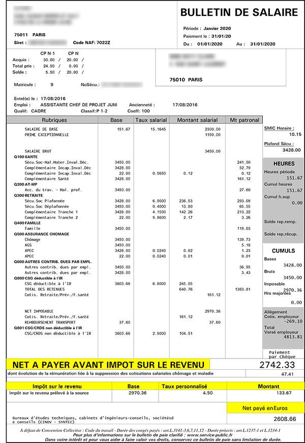 Exemple fiche de paie syntec
