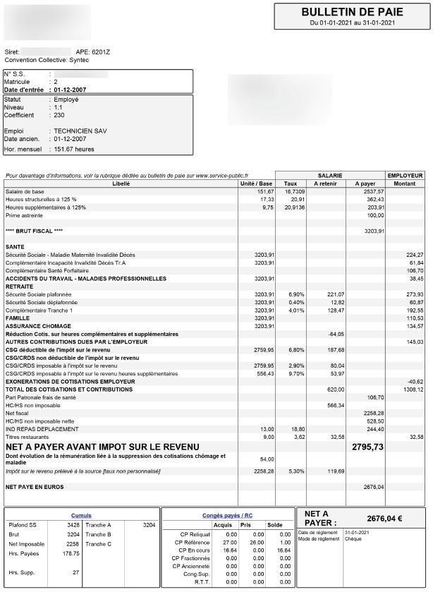 fiche de paie syntec 2021