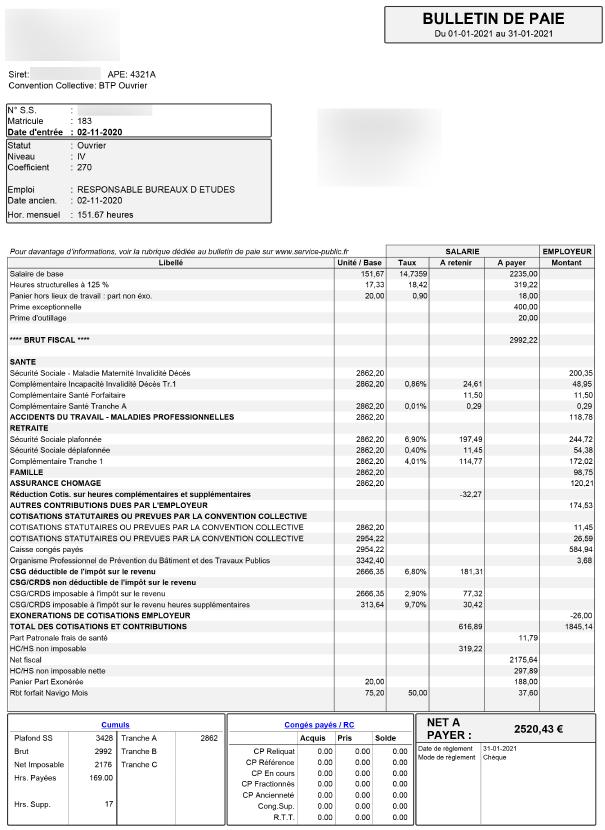 fiche de paie BTP 2021